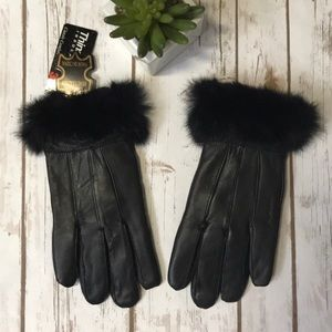 3M Thinsulate Leather Fur Trimmed Black Gloves S